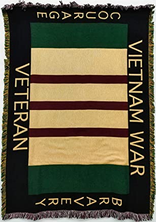 Pure Country Weavers Vietnam Veterans Memorial Woven Throw Blanket with Fringe by Artisan Textile Mill USA Made Size 70x50 Cotton Woven to Last a Lifetime