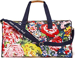 Women's Getaway Duffle Bag with Adjustable/Removable Strap and Metal Zip Close, Flower Shop