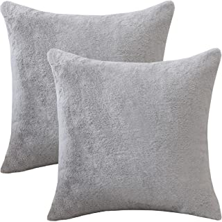 HOME BRILLIANT Pack of 2, Soft Luxury Series Faux Rabbit Fur Throw Pillow Case Cushion Cover for Sofa Bedroom Car 18 x 18 Inch 45 x 45 cm, Grey