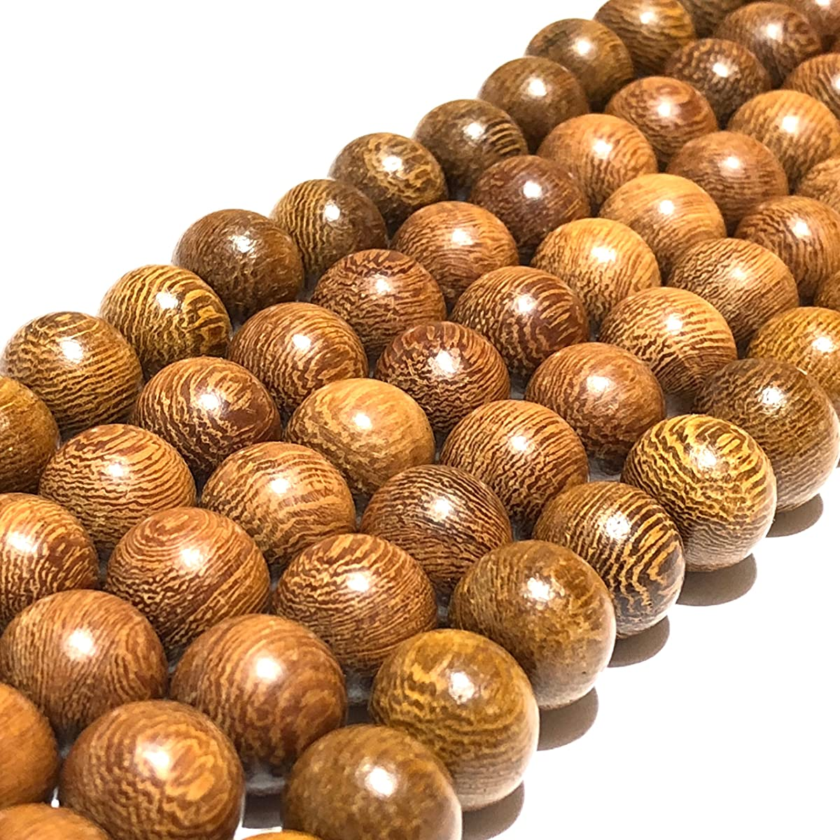 [ABCgems] Essential Oil Diffuser Kakawate AKA Madre De Cacao Hardwood (Exquisite Wood Grain) 10mm Matte Finished Round Wood Beads for Beading & Jewelry Making (No Wax)