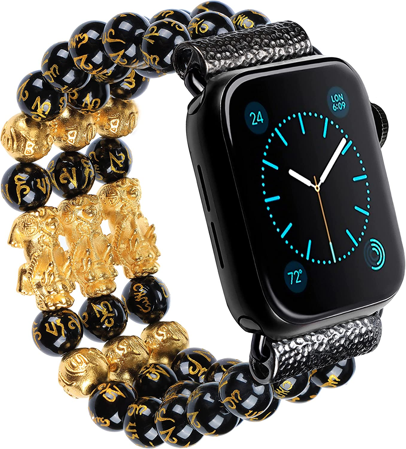 Feng Shui Good Luck Pi Xiu Bracelet Beaded Band Compatible with Apple Watch SE 6 5 4 3 2 1 iwatch 38mm 40mm 42mm 44mm Black Obsidian Wealth Bracelet Band