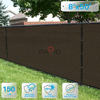 Patio Paradise 8' x 50' Brown Fence Privacy Screen, Commercial Outdoor Backyard Shade Windscreen Mesh Fabric with Brass Gromment 90% Blockage- 3 Years Warranty (Customized