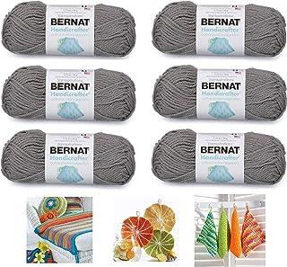 Bernat Handicrafter Cotton Solids Yarn, 1.75 oz, Gauge 4 Medium, 100% Cotton, 6-Pack Overcast with 3 Color Patterns