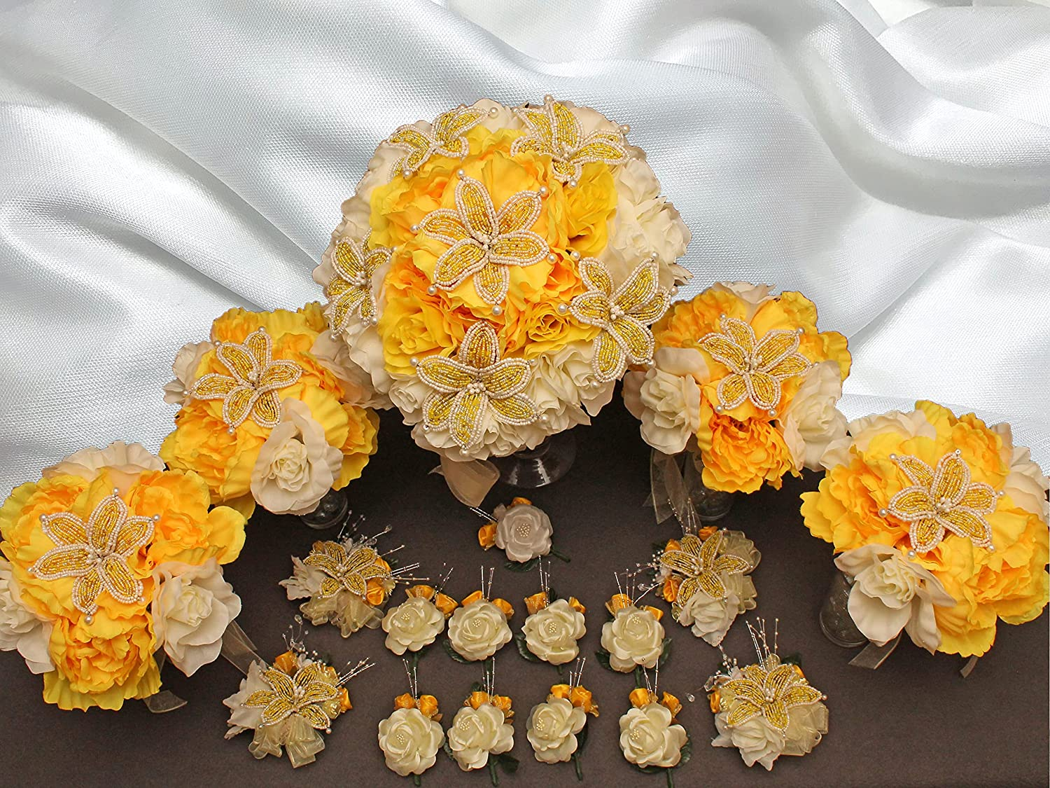 YELLOW and Ivory Beaded Wholesale Quantity limited Lily Bridal piece Wedding Flower 18 set
