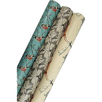 """Printed Kraft Christmas Wrapping Paper (Elegant Snow Birds-Deer-Ice Flowers on Brown Kraft) 30""""x15 Feet, 112.5 Square Feet Total"""