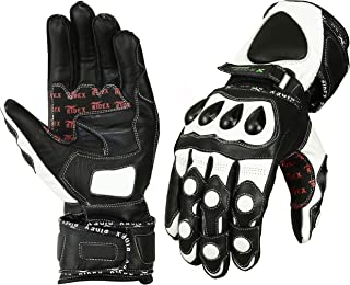 RIDEX G7W Knuckle Protection Motorcycle Leather Gloves White & Black