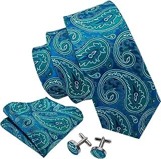 Paisley Tie Set Hanky Cufflinks Neckties for Men Woven Silk Fashion