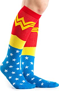 DC Comics Wonder Woman Uniform Knee High Socks,Multi Colored, Fits Shoe Size 4-10/Foot Size 9-11
