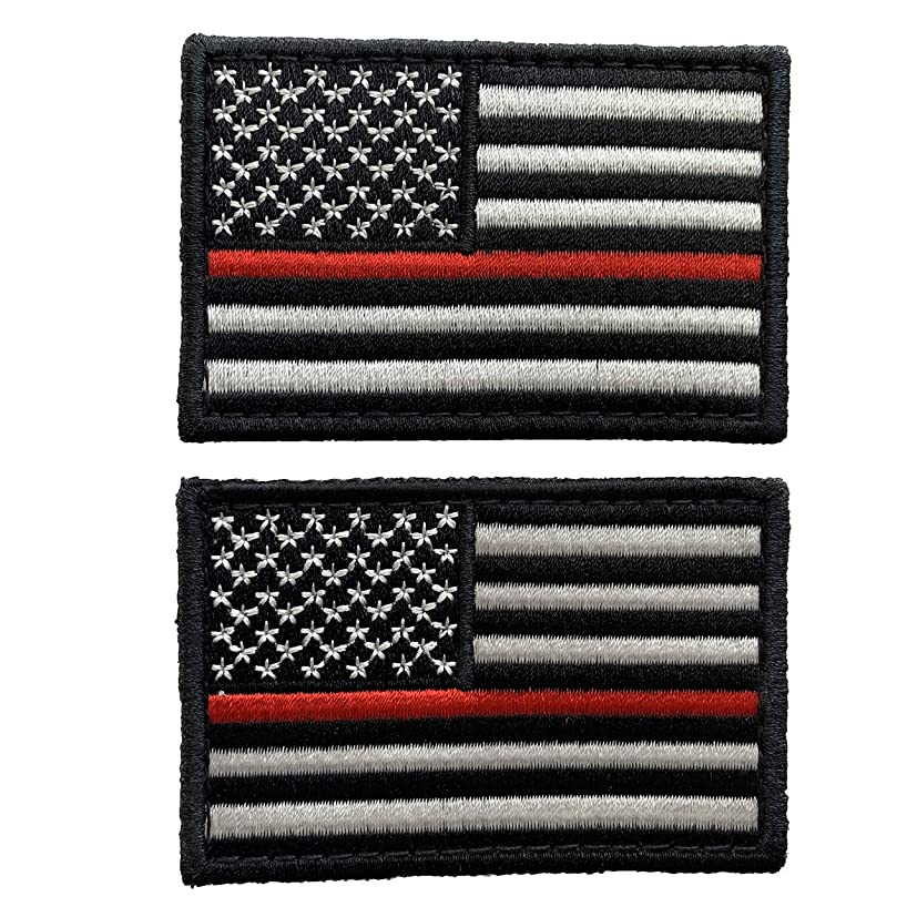 uuKen Bundle 2pcs US Flag Thin Red Line Patch 3