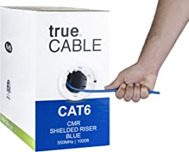 Cat6 Shielded Riser (CMR), 1000ft, Blue, 23AWG Solid Bare Copper, 550MHz, ETL Listed, Overall Foil Shield (FTP), Bulk Ethernet Cable, trueCABLE