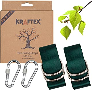 Kraftex Tree Swing Straps [2 Pack] 6ft Long, Adjustable Straps with 2 Heavy Duty Carabiners. Easy Tree Swing Straps Hanging Kit for Wooden Swing, Hammocks, Rope Swing, Disc Tree Swing & Tire Swing