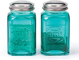 SVP International Retro Salt and Pepper Shakers, Turquoise Color, 8oz Containers