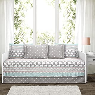 Lush Decor Elephant Stripe 6 Piece Daybed Cover Bedding Set Includes Bed Skirt, Pillow Shams and Cases 75 X 39, Turquoise and Pink