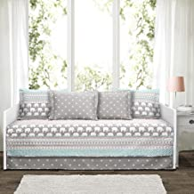 "Lush Decor Elephant Stripe 6 Piece Daybed Cover Bedding Set Includes Bed Skirt, Pillow Shams and Cases 75"" X 39"", Turquois..."