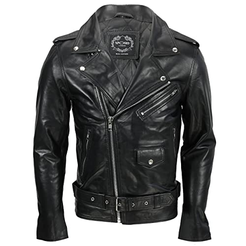 Mens Navy Blue Cafe Racer Real Leather Vintage Biker Classic Motorcycle Jacket with FREE REAL LEATHER WALLET