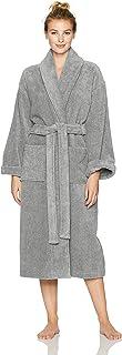 Amazon Brand – Pinzon Terry Bathrobe 100% Cotton, Platinum, Small / Medium