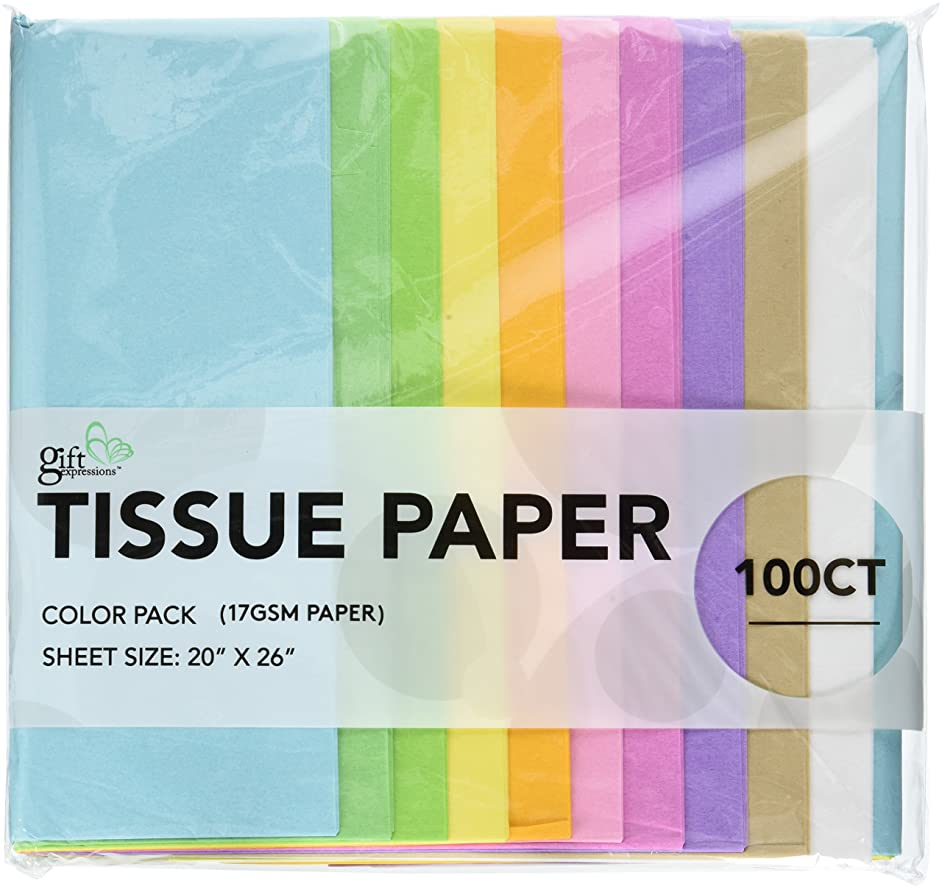100 CT Pastel (Light blue, Light Green, Lime green, Yellow, Deep yellow, Light Pink, Pink, Purple, Tan, White), 17GSM ( thick, durable & crispy) Premium Quality TISSUE PAPER (Pastel)