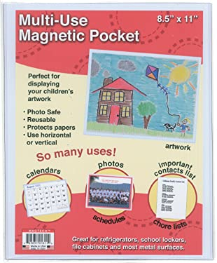 Magtech Magnetic Photo Pockets, White, Holds 8.5 x 11 Inches Photos and Documents, 1 Pack (01811)
