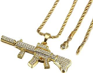 TIDOO Jewelry 30 Inch Chain Mens Golden Hip Hop M4 Gun Pendant Necklaces