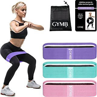 GYMB Booty Bands for Women Butt and Legs - Non Slip Resistance Bands to Work Out Glute, Thighs & Squat - Includes Fitness ...