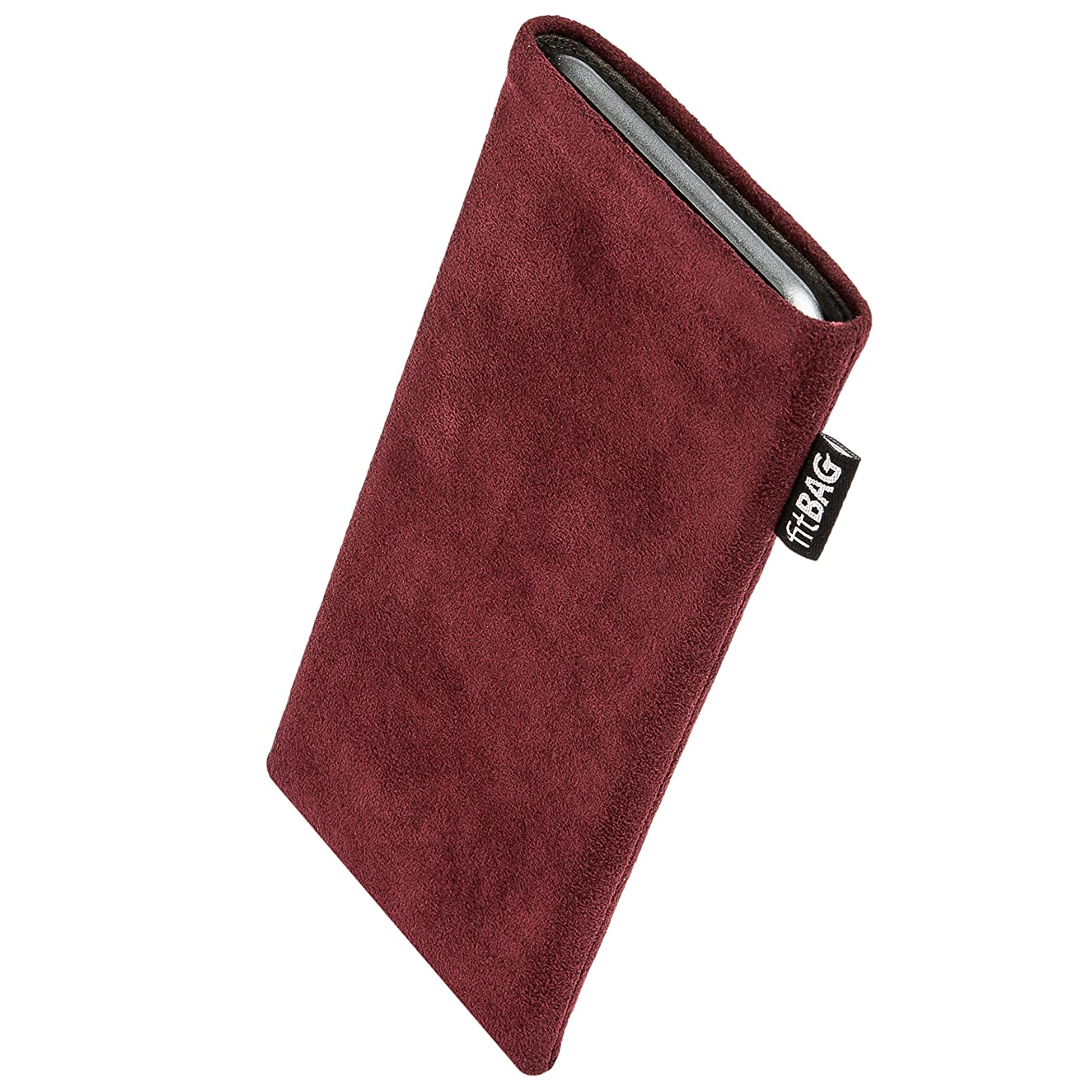fitBAG Classic Burgundy Custom Tailored Sleeve for Google Pixel 3a XL   Made in Germany   Genuine Alcantara Pouch case Cover with Microfibre Lining for Display Cleaning