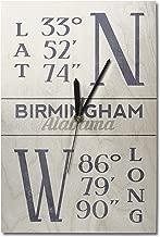 Lantern Press Birmingham, Alabama - Latitude and Longitude (Blue) (10x15 Wood Wall Clock, Decor Ready to Hang)