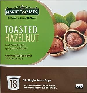 Market & Main Toasted Hazelnut Coffee: 18 Single Serve Ground Flavored Coffee Cups