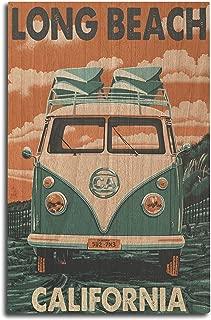 Lantern Press Long Beach, California - Camper Van (10x15 Wood Wall Sign, Wall Decor Ready to Hang)