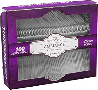 Best Crystalware, Heavy-Weight Clear Plastic Forks, Durable, Disposable, Box of 100 Review
