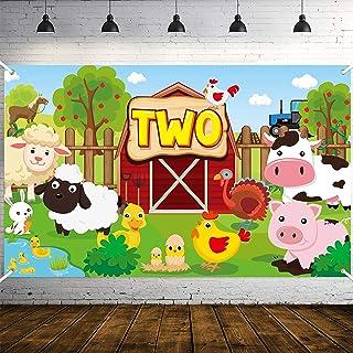 WATINC Farm Animals Two Years Birthday Backdrop Photo Booth Props Farmhouse Barnyard Background Cartoon Banner Baby Shower...