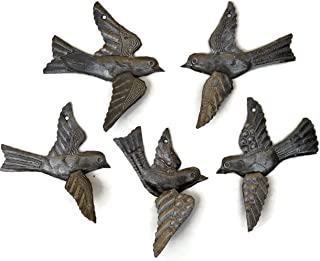Haitian Birds Recycled Steel Drum Art 3-D Wings Set of 5 Metal Art Wall Decor 5 x 4.5 inches