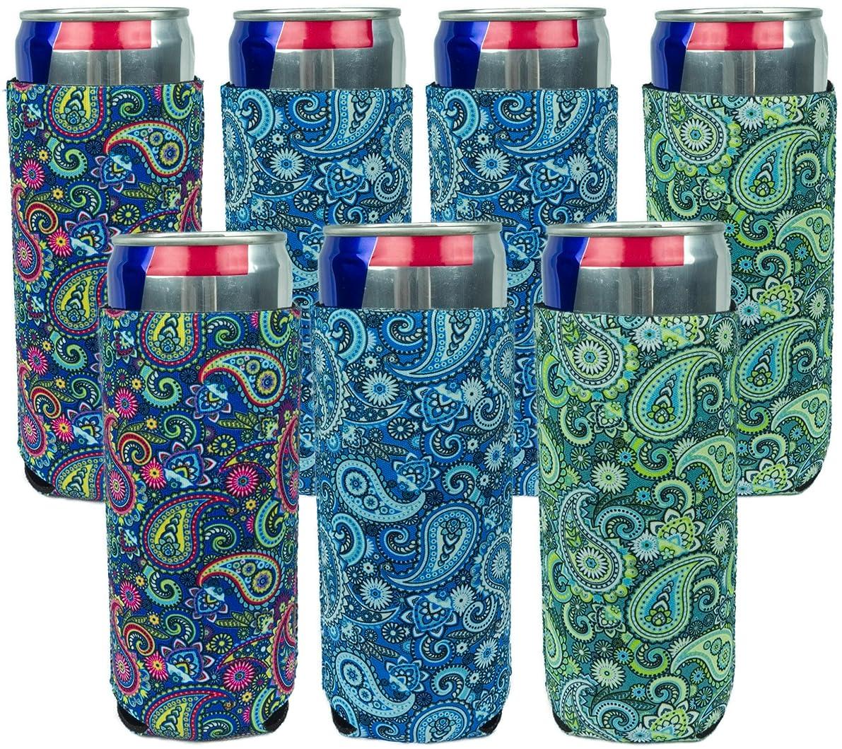 Neoprene Slim Can Sleeves - Pack of 7 Paisley coolies - Fit 12 oz Energy Drink & Beer Slim Cans (7, Paisley)