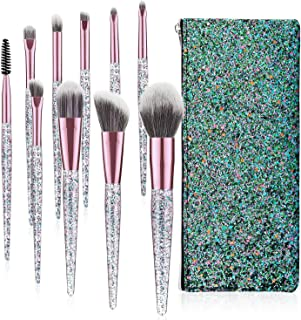 Luxspire 10PCS Professional Makeup Brush, Make up Brushes Set Acrylic Handle Powder Brush Eyelash Brush Eye Brow Brush Face Contour Brush Set Cosmetic Makeup Tool with Sequins Bag - Purple