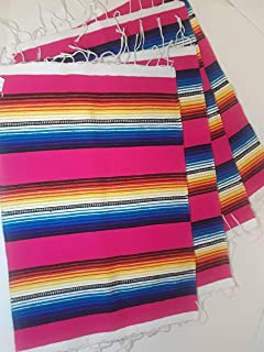 Don Gabriel Mexican Serape Style Cloth Placemats Southwest Saltillo Sarape Place mat Set of 4 (Pink)