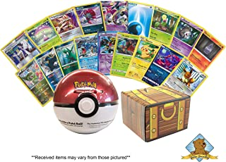 50 Card Pokemon Lot - Featuring 1 Random Sealed Pokeball Tin with 3 Random Booster Packs and 1 Collectible Coin! Includes Golden Groundhog Treasure Chest Storage Box!
