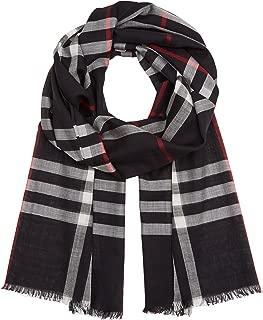 Lightweight Check Wool Silk Scarf - Navy