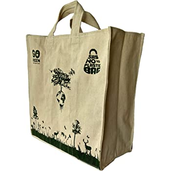 Ero Cotton Bags Cotton Canvas Shopping Bag with Pockets for Vegetables and Grocery (LxHxW :14 x15 x 6 Inch, Medium Size)
