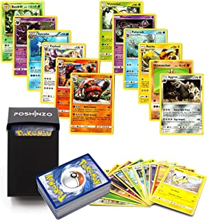 100 Pokemon Cards 12 Rares Included Plus Poshinzo Card Box