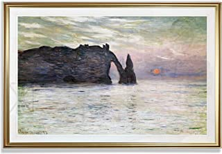 Monet Wall Art Collection The The Manneport, Cliff at Etretat, Sunset, 1883 Fine Giclee Prints Wall Art in Premium Quality Framed Ready to Hang 28X48, Gold