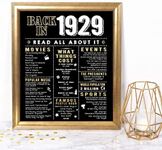 Katie Doodle 90th Birthday Party Supplies Decorations Gifts for Women Men | Includes 8x10 Back-in-1929 Sign [Unframed], BD090
