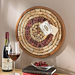 Wine Enthusiast 340 12 02 Round Wine Cork Board Kit, Light Brown