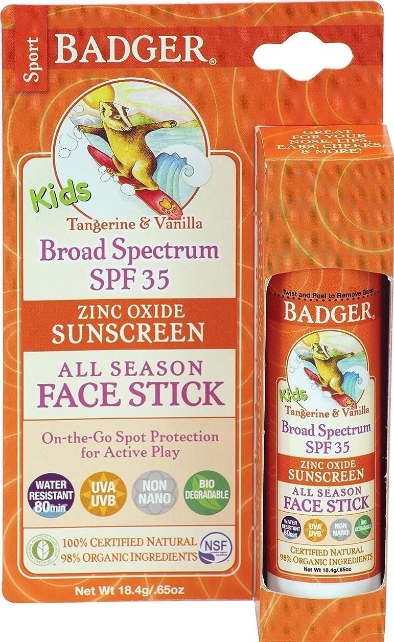 感性検証すぐにBadger Company, Kids Sport Sunscreen All Season Face Stick, SPF 35, Tangerine & Vanilla, .65 oz (18.4 g)