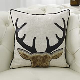 Little Funny Cotton Linen Deer Pillow Covers Decorative Christmas Deer Pillowcase Animal Cushion Cover with Faux Leather Antlers and Fur Applique for Sofa Bed Couch18x18 Inch Beige