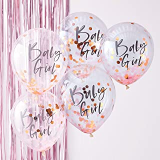 Ginger Ray Pink & Rose Gold Baby Girl Confetti Balloons Baby Shower Party Decorations - Twinkle