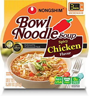 NongShim Bowl Noodle Soup, Spicy Chicken, 3.03 Ounce (Pack of 4)