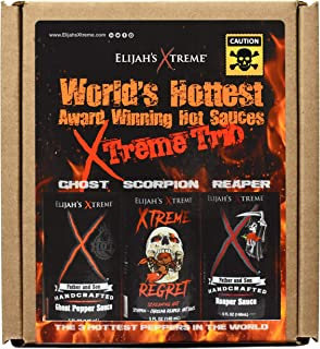 World's Hottest Hot Sauce Gift Set, Elijah's Xtreme Award Winning Hot Sauce Variety Pack Includes Ghost Pepper Hot Sauce, ...