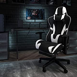Flash Furniture Black Gaming Desk and Black Footrest Reclining Gaming Chair Set with Cup Holder, Headphone Hook, and Monit...
