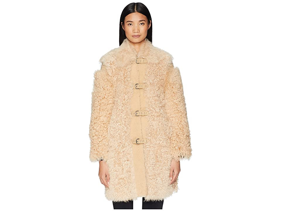 RED VALENTINO Kalgan, Shearling, Suede and Stud Coat (Camel) Women