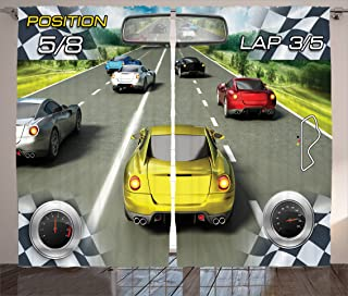 Ambesonne Cars Curtains, Car Racing Speedyspired Illustration Need for Speed Road Competition Motorsports Theme, Living Ro...