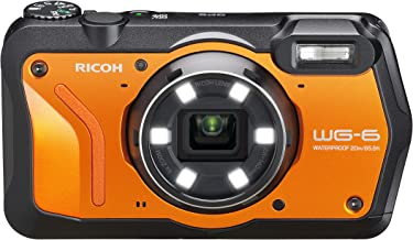 RICOH WG-6 Orange Waterproof Camera 20MP Higher Resolution Images 3-inch LCD Waterproof 20m Shockproof 2.1m Underwater Mode 6-LED Ring Light for Macro Photography